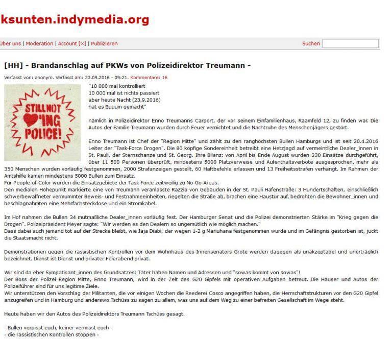 Polizei Berlin: Linksextreme rufen zur Gewalt gegen