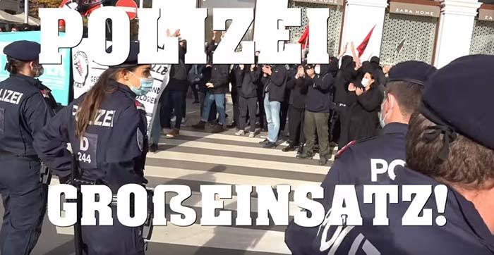Maskenverbrennung in Wien – Großeinsatz der Polizei