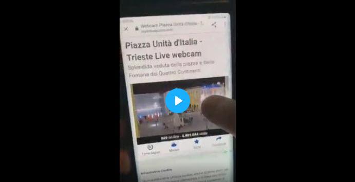 Triest/Italien: Live-Webcam vom öffentlichen Platz während Demo manipuliert